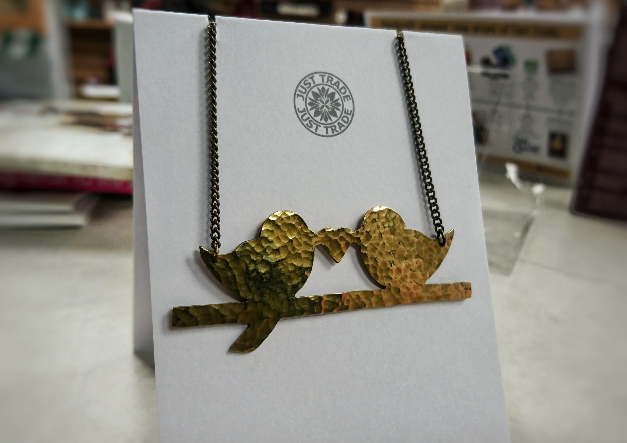 brass bird and heart necklace make your love fair