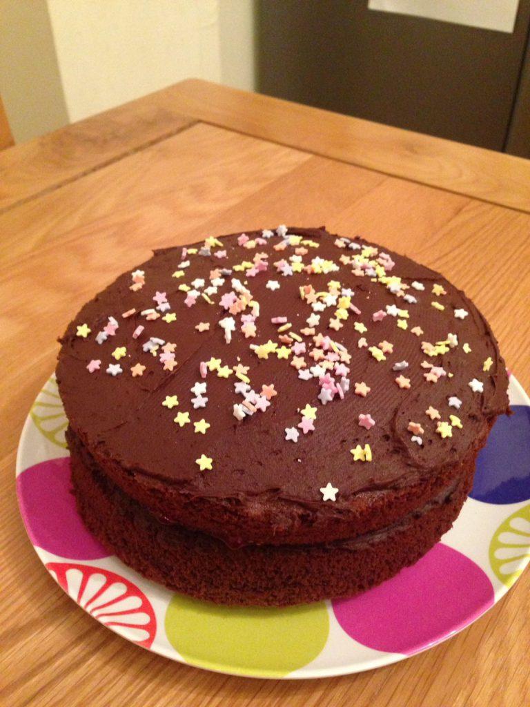 Finished fairtrade Chocolate Cake